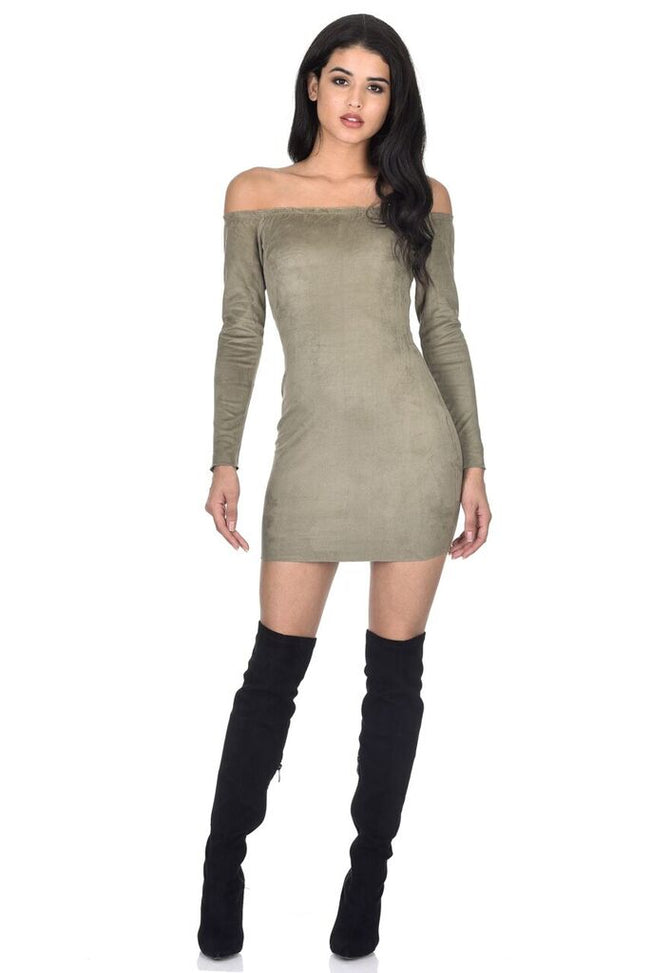 Khaki Suede Bardot Mini dress