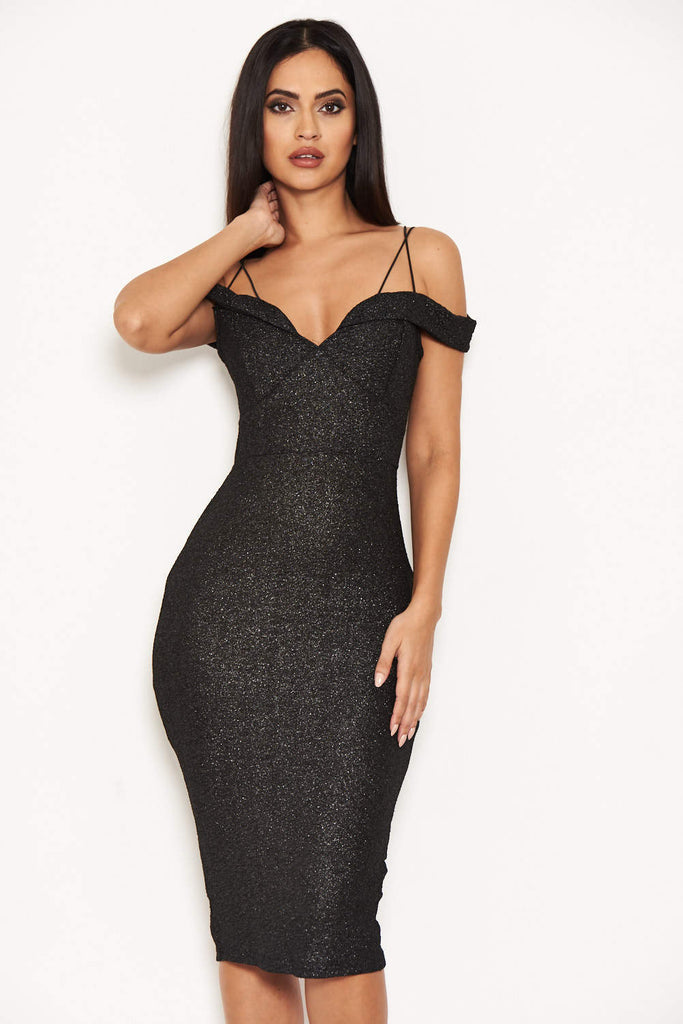 Black Strappy Notch Front Sparkly Dress
