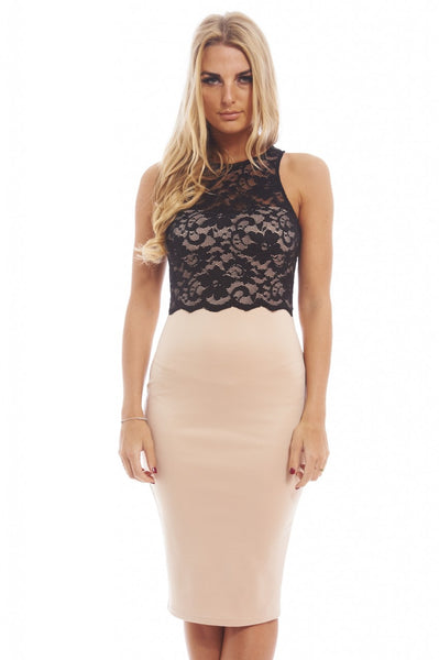 Scallop Lace Contrast Midi Dress