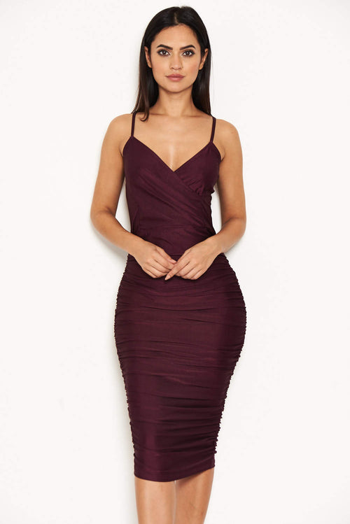 Plum Ruched Midi Dress