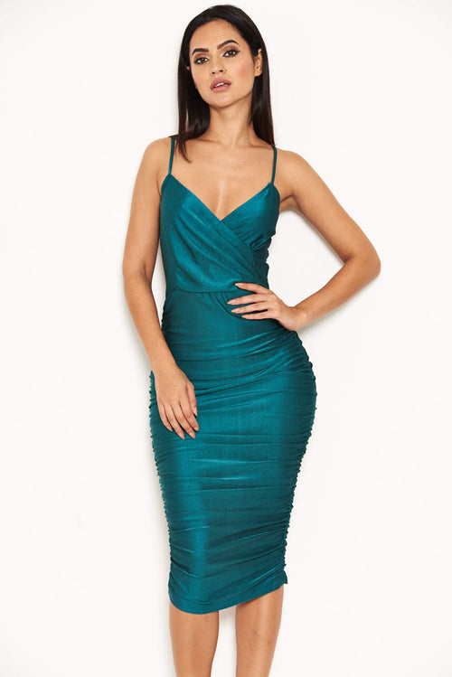 Teal  Ruched Midi Dress
