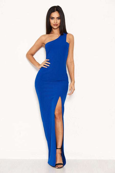 Blue Strappy Off The Shoulder Side Split Maxi Dress