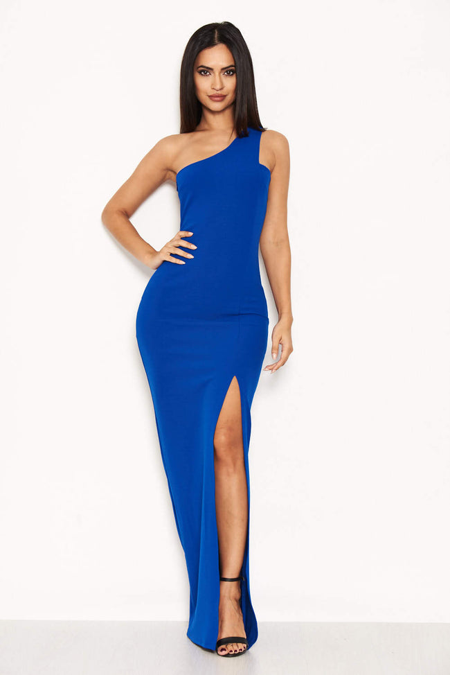 Blue Asymmetric Thigh Split Maxi Dress