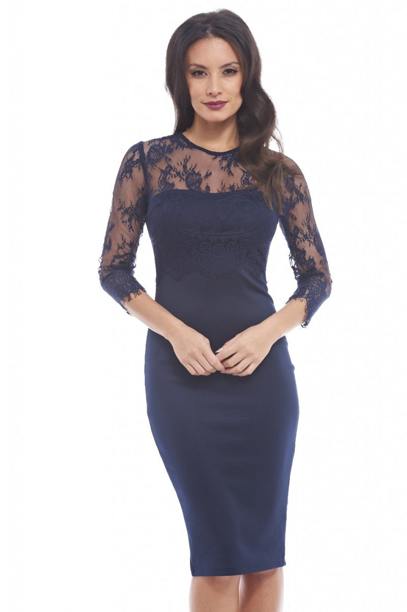 Eyelash Lace Long Sleeve Overlay dress