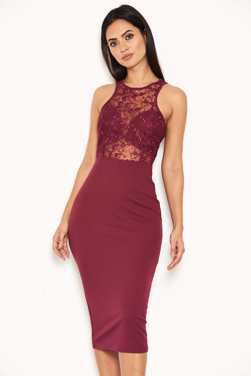 Plum Midi Dress With Lace Top