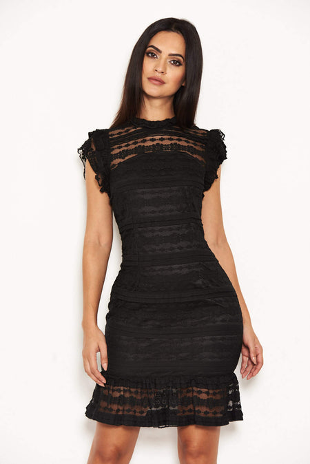 Black Lace Frill Detail Dress