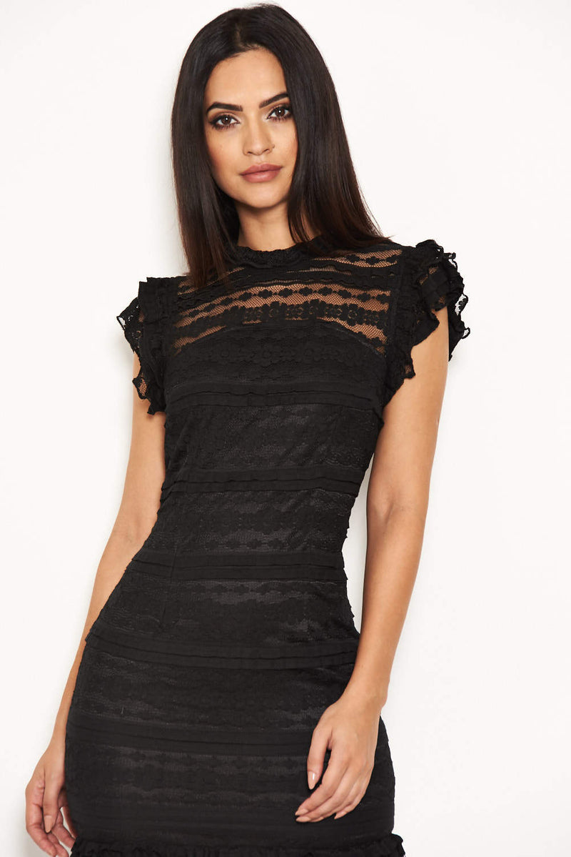 Black High Neck Lace Frill Dress