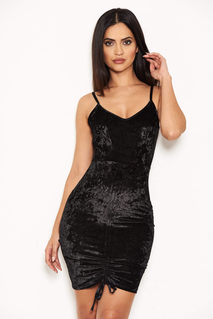 Black Velvet Dress With Ruched Drawstring Detail