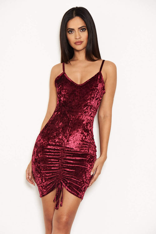 Plum Velvet Dress With Ruched Drawstring Detail
