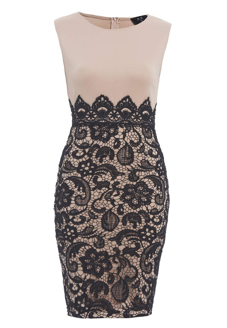 Lace Bottom Bodycon Midi Dress