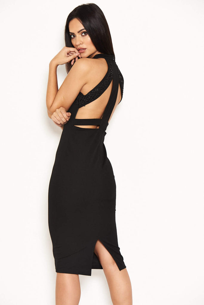 Black High Neck Embellished Midi Dress