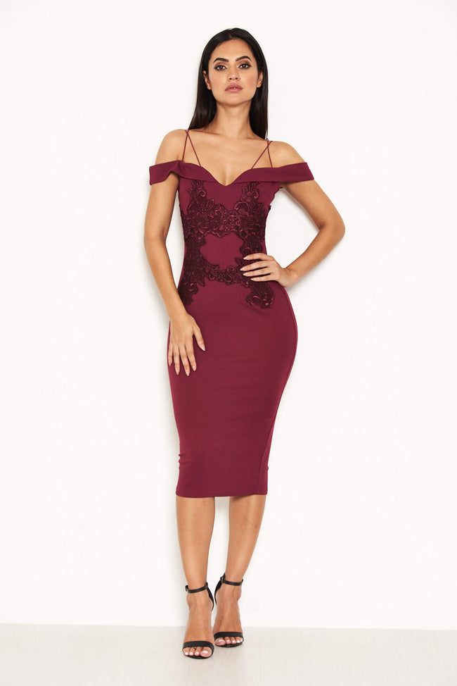 Plum Off The Shoulder Lace Midi Dress With Delicate Straps