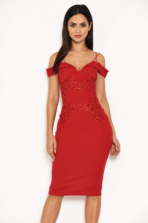 Red Strappy Lace Midi Dress