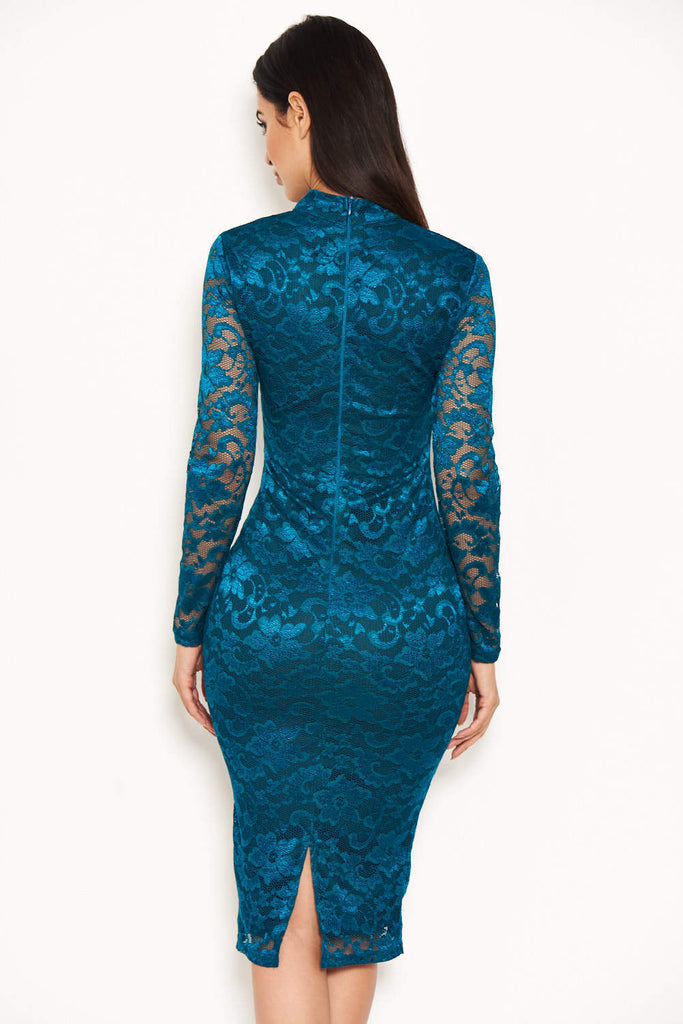 Teal Lace Midi Dress With Long Sleeves