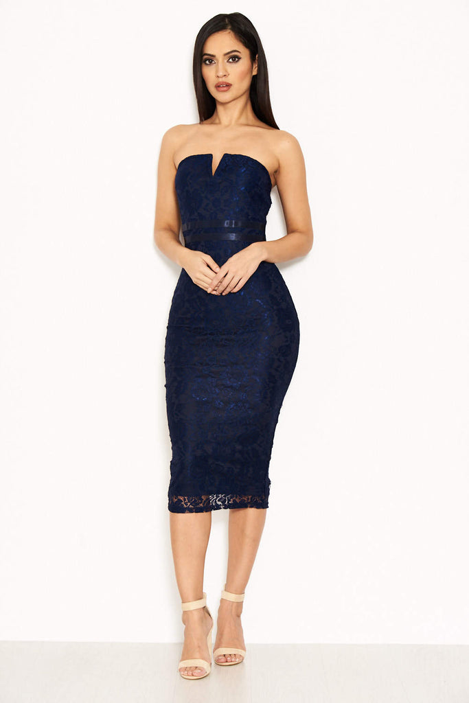 Navy Lace Notch Front Midi Dress