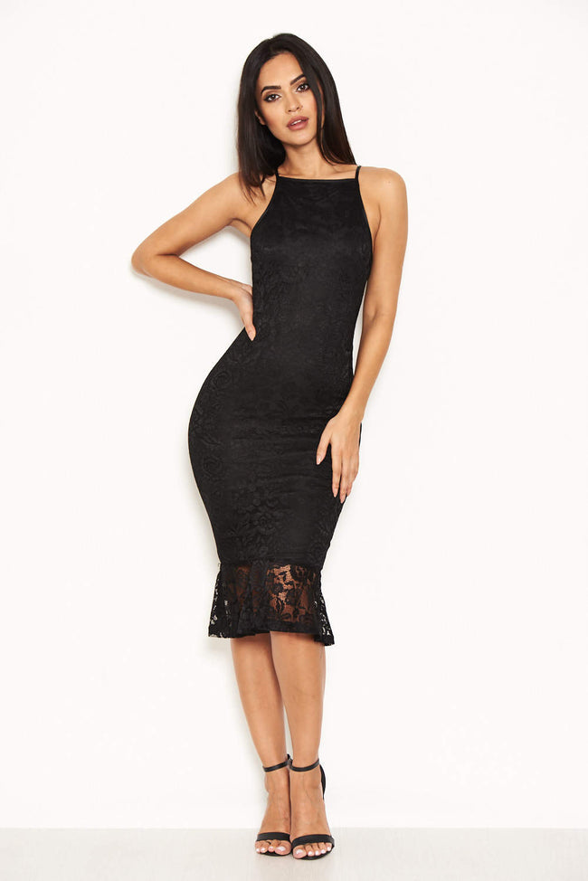 Black Lace Fishtail Midi Dress