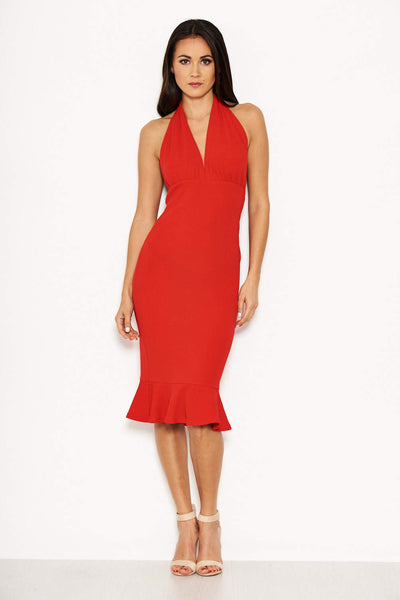 Red  Backless Fishtail Midi Dress