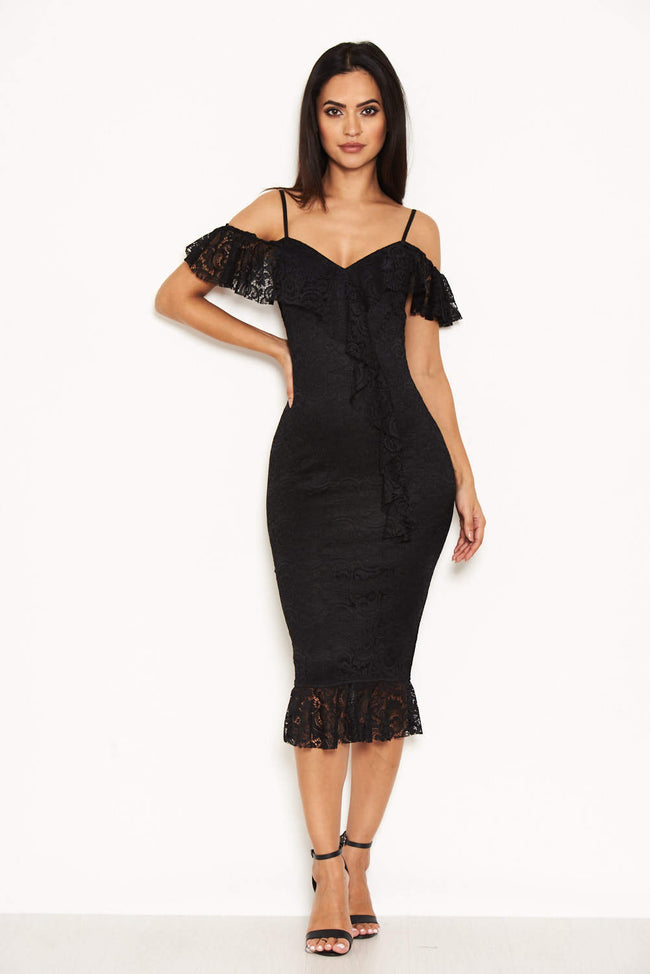 Black Lace Dress With Frill Detail