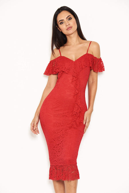 Red One Shoulder Dress With Chain Detail