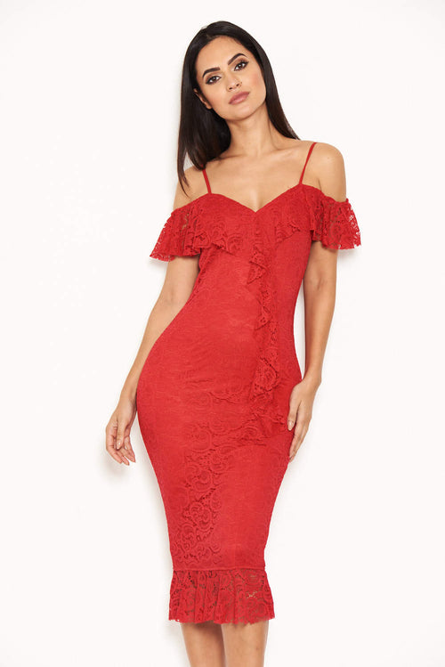 Red Lace Dress With Frill Detail