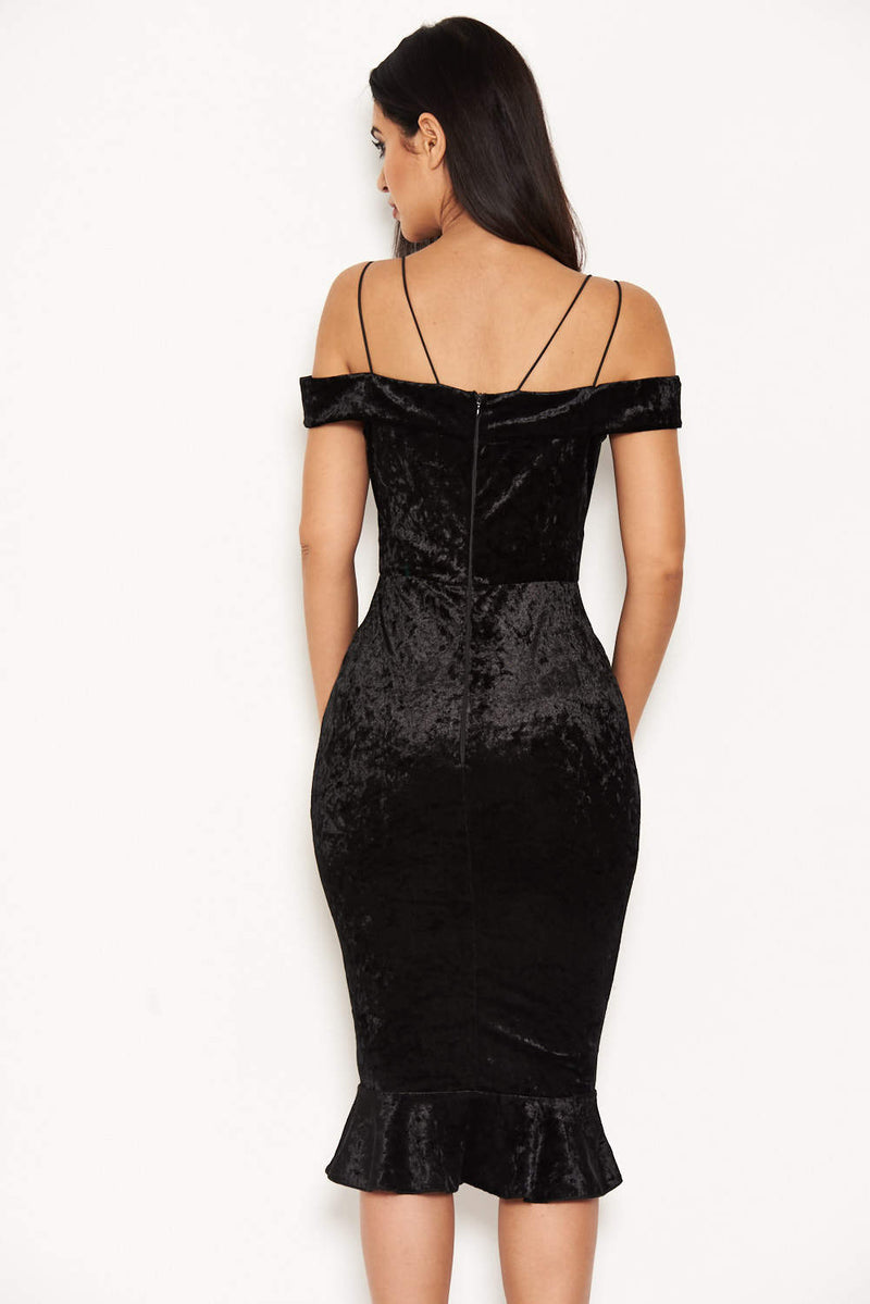 Black Velvet Off The Shoulder Midi Dress With Frill Hem