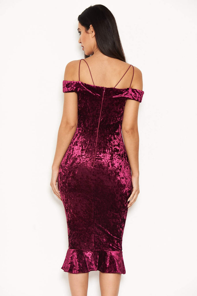 Plum Velvet Off The Shoulder Midi Dress With Frill Hem