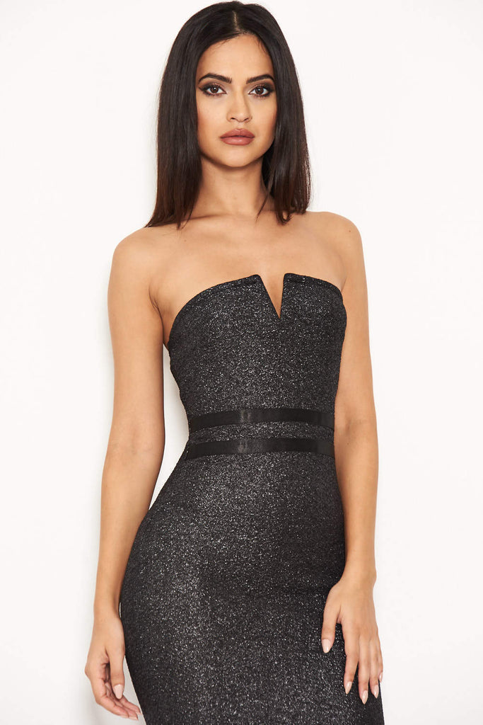 Black Glitter Notch Front Midi Dress