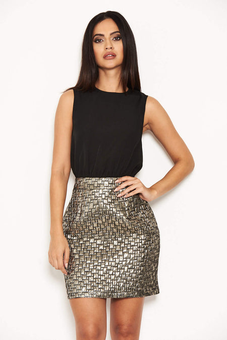 2 In 1 Tweed Skirt Button Front Dress