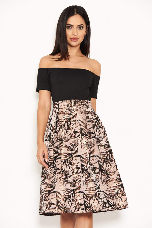 Black Printed 2 in 1 Skater Dress
