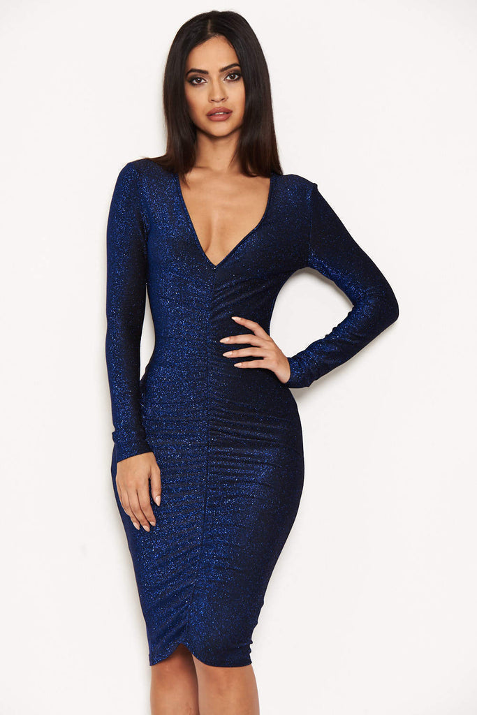 Blue Ruched Front Bodycon Dress