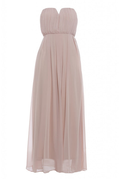 Chiffon Pleat Front Plain Maxi Dress
