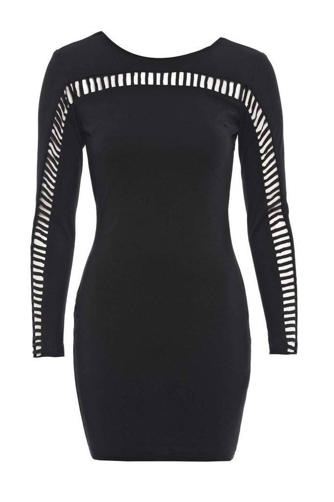 Long Sleeved Cut- Out Bodycon Dress