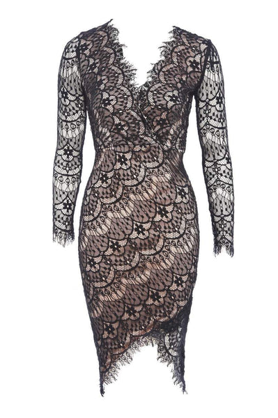 Crossover Lace Bodycon Dress