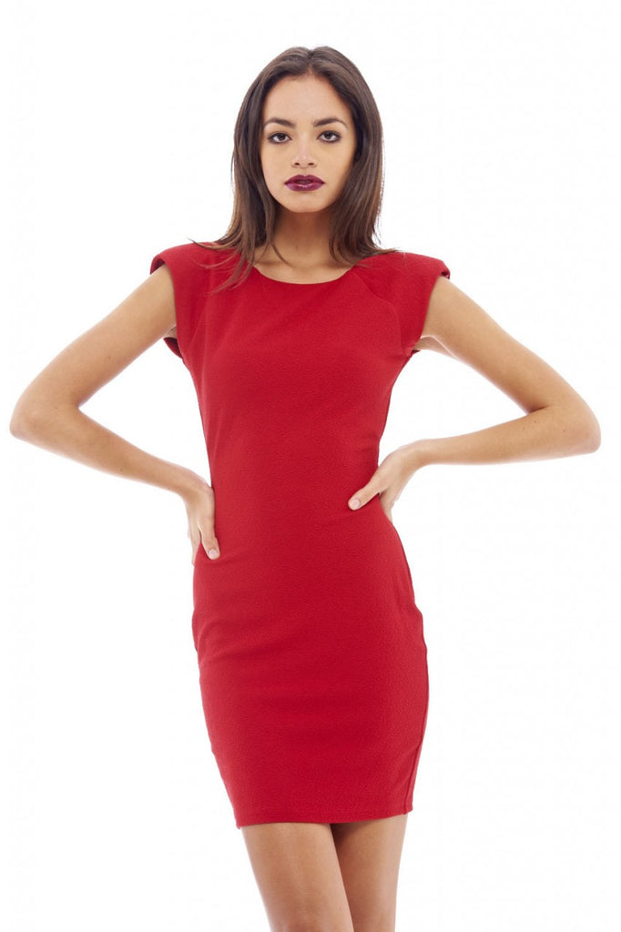 Waffle Bodycon Shoulder Pad Dress
