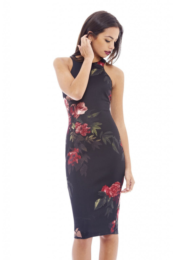 Floral Bodycon Midi Dress