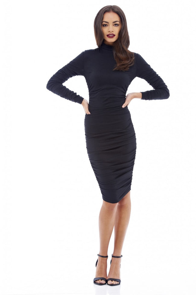 Ruched Long Sleeved Bodycon Dress
