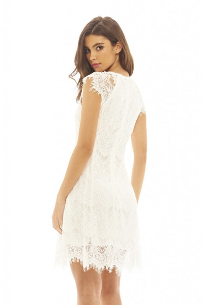 Capped  Sleeve Crocheted Lace Dress