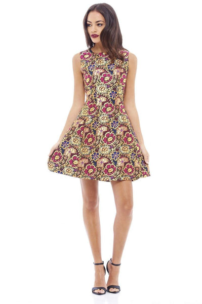 Metallic Floral Skater Dress