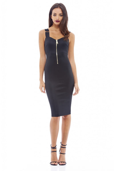 Zip Front Bodycon Midi Dress