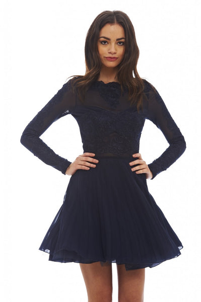 Lace Detail Pleated Skater Dress – AX Paris 77cafb06e