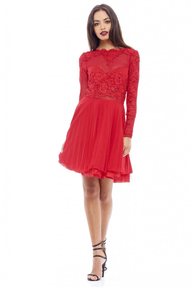 Lace Detail Pleated Skater Dress