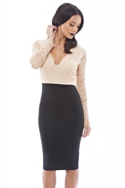 2 in 1 Long Sleeved Lace Dress