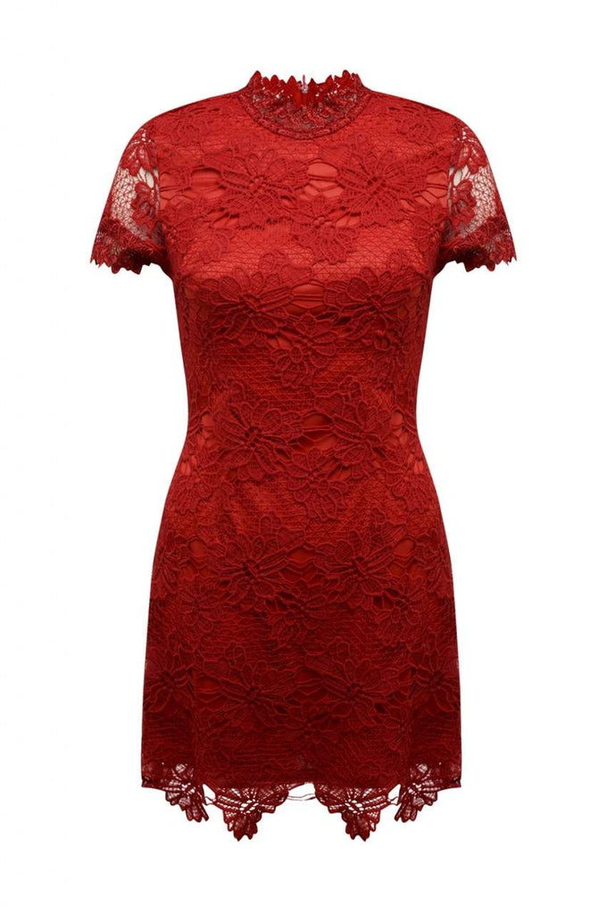 Red High Neck Lace Dress