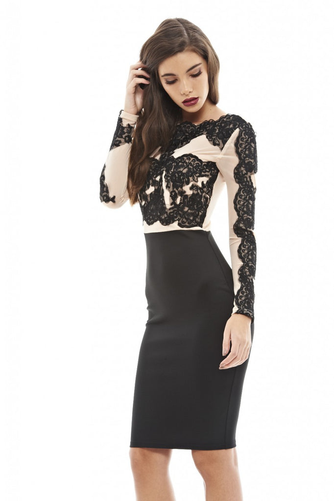Lace And Mesh Contrast Midi Dress