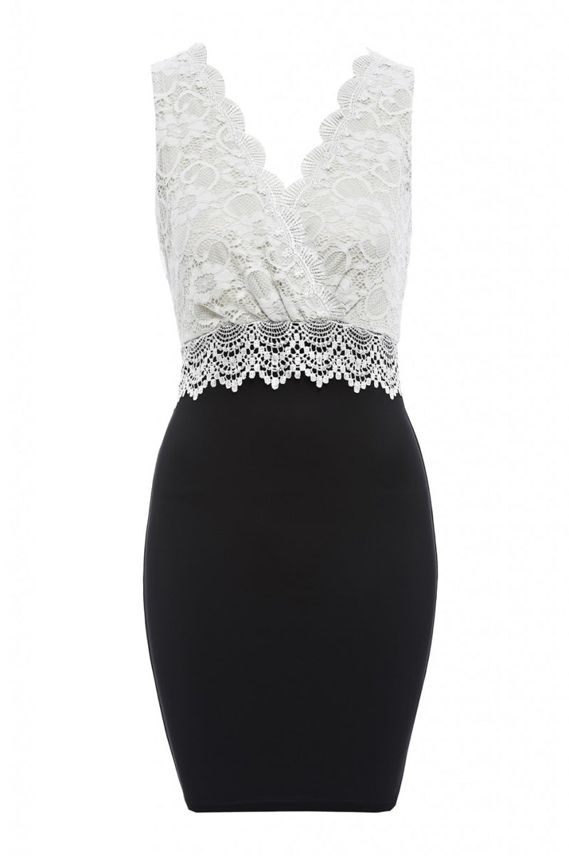Lace V Wrap Front Bodycon Dress