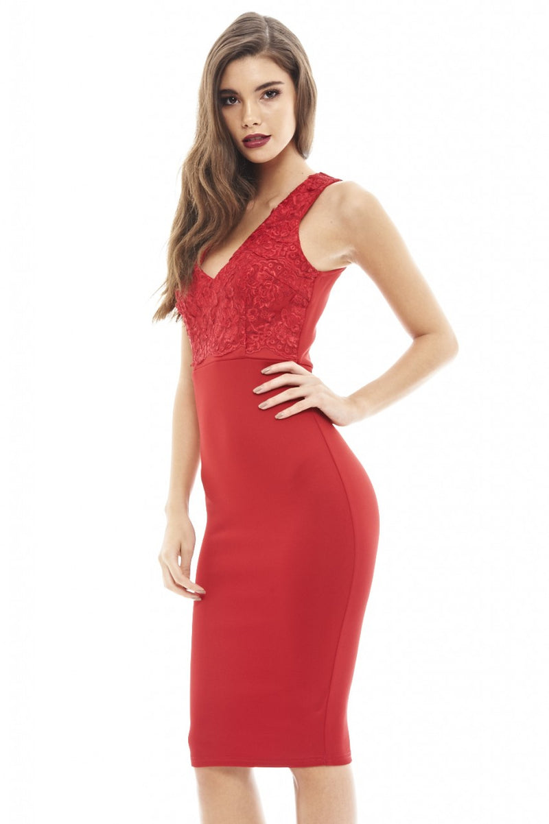 V Neck Lace Bodycon Dress