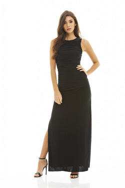High Neck Ruched Maxi Dress