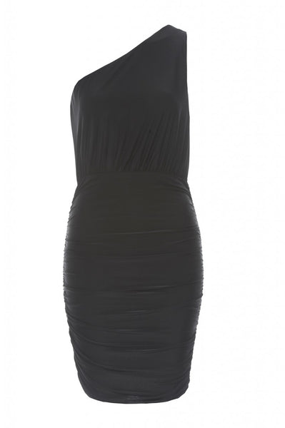 Slinky Ruched Asymmetric Dress