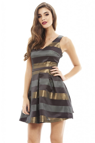 V Front Striped Skater Dress