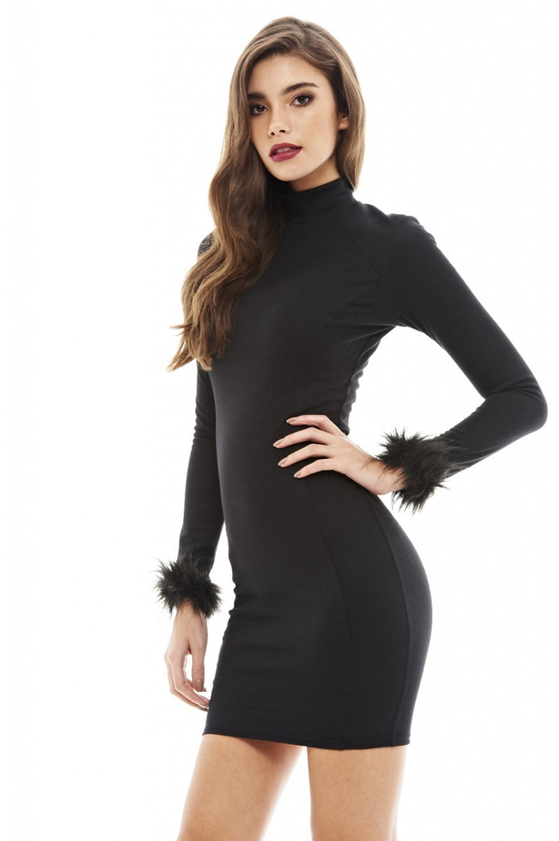 Faux Fur Cuff Bodycon Dress